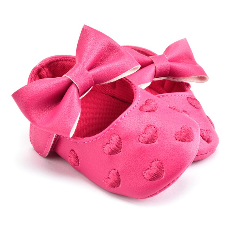 Handmade Soft Bottom Bowknot Baby Shoes Newborn Babies Shoes 3 colors PU leather Heart Pattern Prewalkers