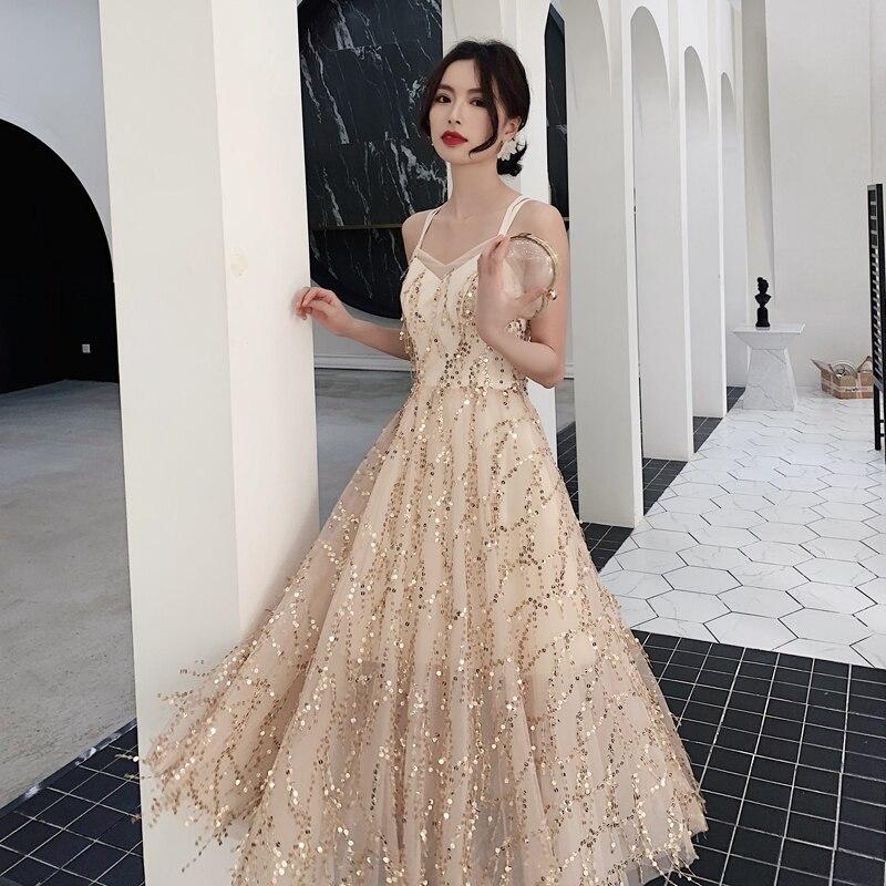 Sexy Robe De soirée en Satin 2019 longue ligne robes De bal robes De soirée Robe De soirée dos ouvert Robe De soirée LF441