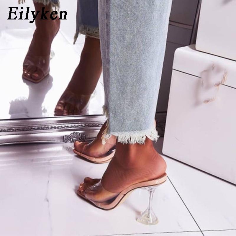Eilyken Orange Silver PVC Jelly Slippers Open Toe High Heels Women Transparent Perspex Slippers Shoes Heel Clear Sandals Size 42