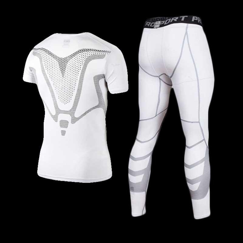 Hommes GYM Compression Fitness Ensembles Tee Top + Capri Legging Workout Exercice Sport Yoga Plage Chemises de Course Collants Réservoir Vêtements