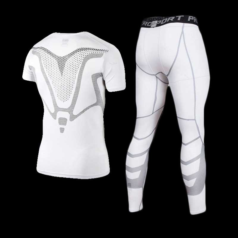 Men GYM Compression Fitness Sets Tee Top + Capri Legging Workout Exercise Sport Yoga Beach Shirts Running Tights Tank Clothing crazyfit mesh hollow out sport tank top women 2018 shirt quick dry fitness yoga workout running gym yoga top clothing sportswear
