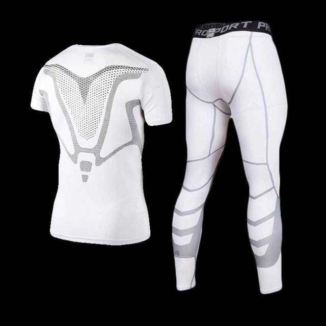 Men GYM Compression Fitness Sets Tee Top + Capri Legging Workout Exercise Sport Yoga Beach Shirts Running Tights Tank Clothing