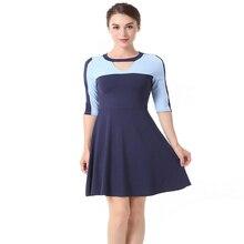 Summer Women's Round Neck Colorblock Sleeve Sexy Dress Fashion Slim Party Dress недорого
