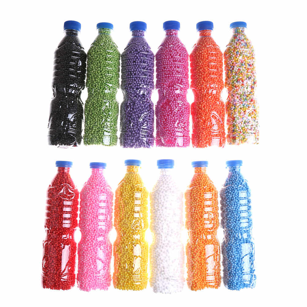 500ml/Bottle DIY Snow Mud Particles Accessories Slime Balls Small Tiny Foam Beads for Floam Filler for DIY Supplies 2-4mm Gift E