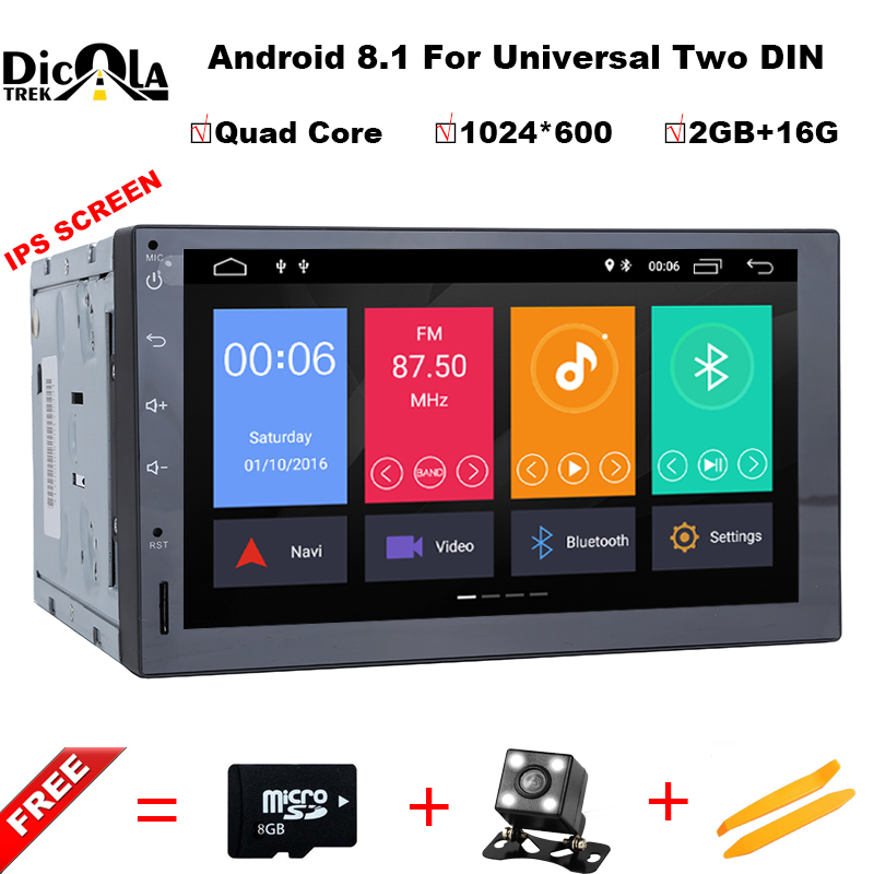 Android 8.1 IPS HD Universal Car Radio 2 Din 7'' Car Stereo GPS Navigation Quad Core 2GB RAM Wifi 4G Video Audio Player NO DVD 2gb ram 7 quad core android 7 1 multimedia 4g dab swc bt car dvd player audio stereo radio gps navi for vw touareg 2002 2011