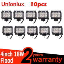 10pcs FREE SHIPPING 4inch 18w led light bar spot flood offroad work 12 volt IP67 driving for trucks