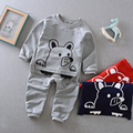 2017 spring children's clothing baby cotton long-sleeve shirt + pants set baby boys girls three-dimensional dog clothes sets