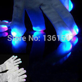 200 pairs/lot(400pcs) Free Shipping Club Concert Dance Party Supplies Magic Finger Light Carnival Halloween Flashing LED Gloves 1