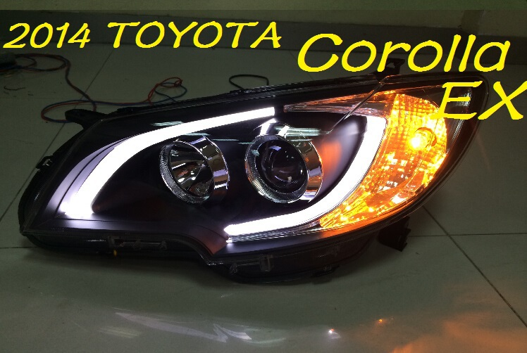 Taiwan Free Ship 2017 2016 Toyota Corolla Ex Headlight With Bi Xenon Projector Lens Hid Led Line Optional Ballast 2pcs Set Good In Car Light Embly From