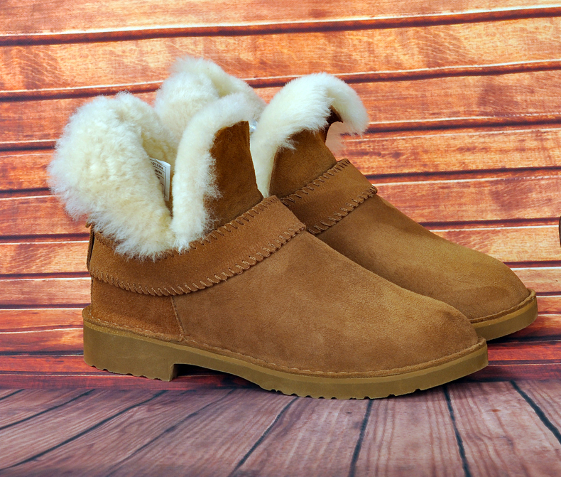 100% Genuine Sheepskin Leather Snow Boots Natural Fur Winter Boots Top Quality Warm Wool Snow Boots Women Ankle Boots