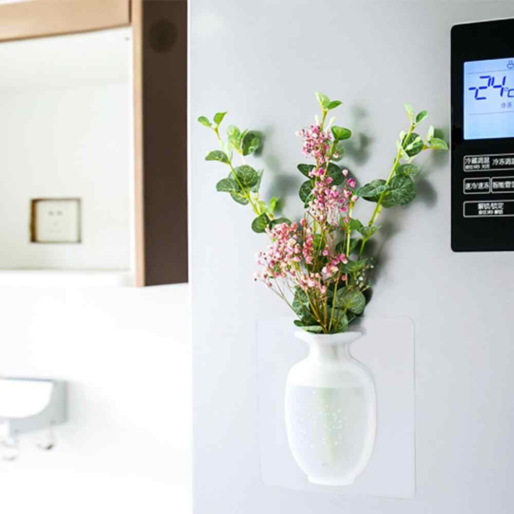 Силиконовая ваза стикер цветок стенная ваза холодильник стекло без следа наклейка волшебный, резиновый настенный цветок горшок домашний декор LS * D