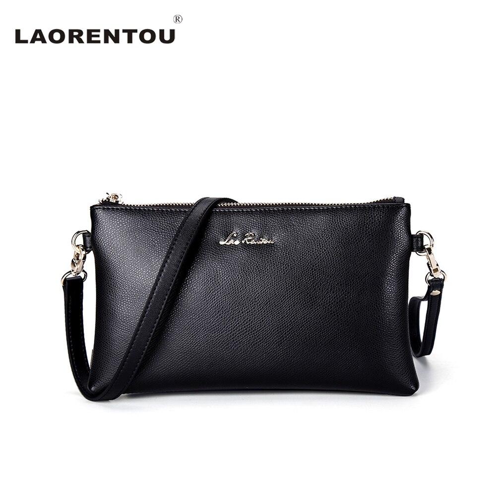 ФОТО LAORENTOU Exclusive Luxury Cowhide Leather Women Messenger Bags Casual Solid Black Shoulder Bag Crossbody Bags For Women N54