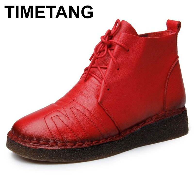 TIMETANG Vintage Women Boots Soft Bottom Cow Leather Martin Boots Women Winter Warm Flat Ankle Boots Autumn Cowhide Casual Shoe gaiety women brand watches luxury rose gold leather quartz ladies wristwatches fashion sport women casual dress watch clock g447