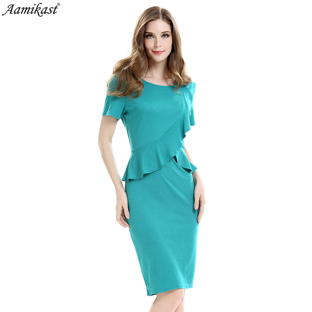 81d4e306bef Amikast 2018 Autumn Womens Elegant Peplum Ruffles Vintage Casual Wear To  Work Office Business Party Bodycon Pencil Sheath Dress