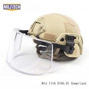 Image 4 - MILITECH NIJ IIIA 3A Bulletproof Vizier voor PASGT ACH SNELLE Picatinny Schold Helm Ballistische Vizier Voor Tactical Rail Helmen