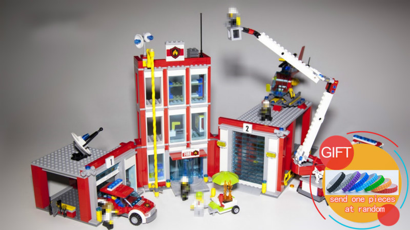 02052 1029Pcs The Fire Station Set 60110 City Series Building Blocks Bricks Educational Toys DIY Gift lepin 02020 lepin new city series the new police station set children educational model building blocks bricks diy toys kid gift 60141