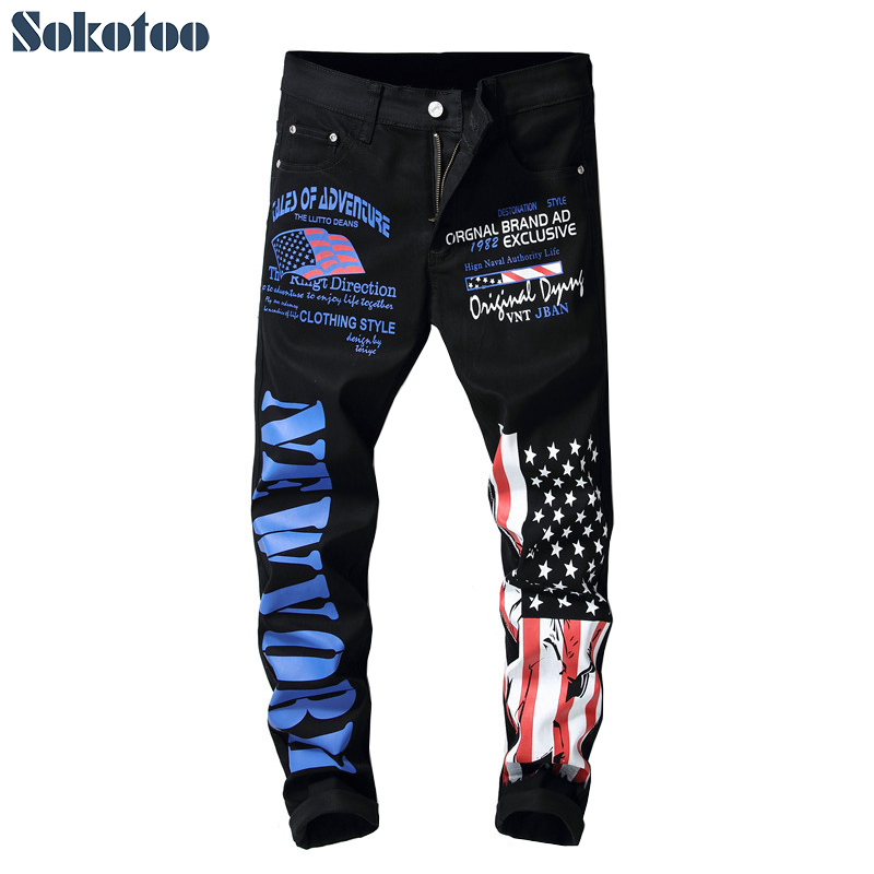 Sokotoo Men's American flag black printed jeans Slim fit letters colored painted pants