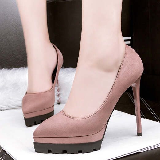 ФОТО Autumn Women's Pumps High Heels Platform Shoes Woman Pointed Toe Suede Single Wedding Shoes Sexy Thin Heels OL Office Shoes