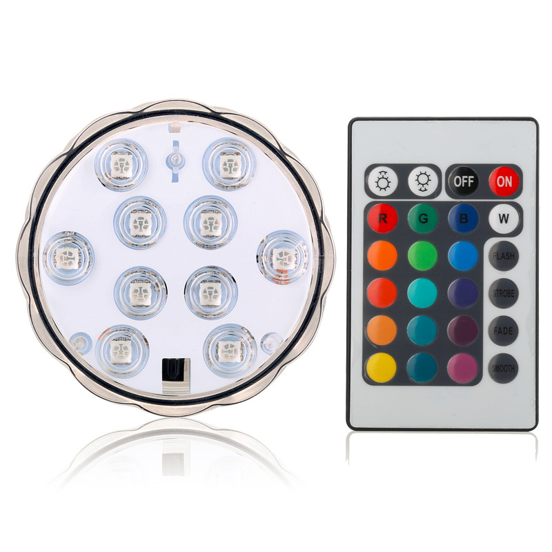 Remote Controled Battery Operated LED Lights 10 LEDs Waterproof Underwater Submersible LED Lights For Wedding Xmas Party Decoe=r