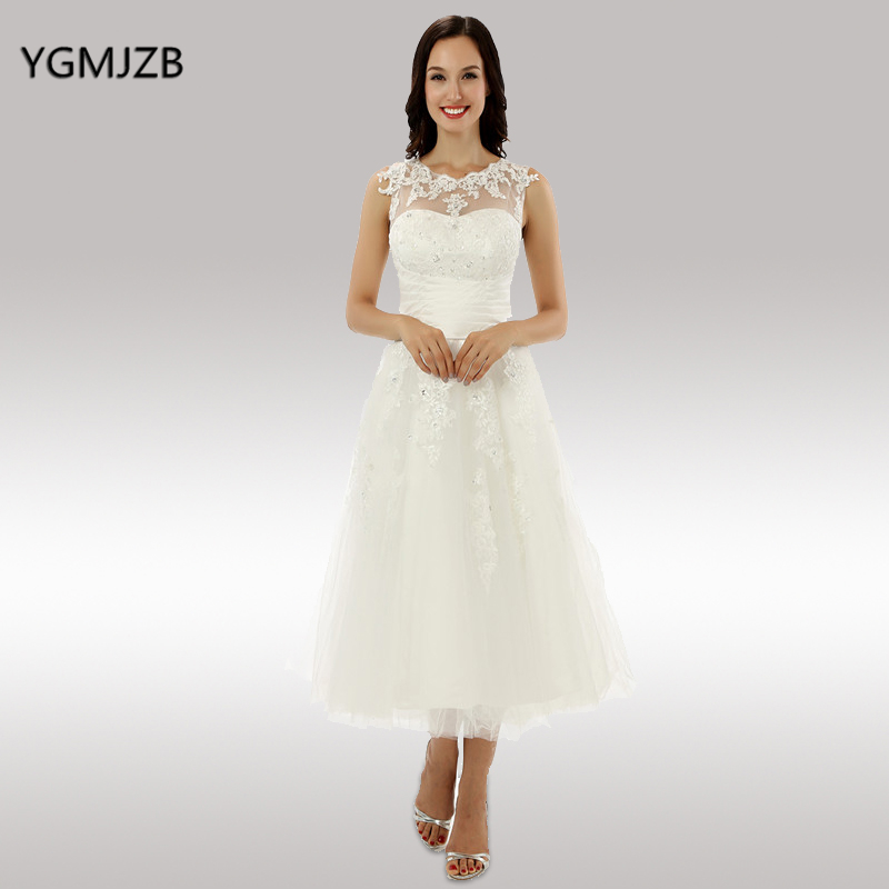US $75.99 49% OFF|Short Wedding Dresses 2018 A Line Cap Sleeves Beaded  Appliques Lace Tea Length Wedding Gown Bridal Gown Plus Size Bride Dress-in  ...