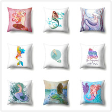 Mermaid Cushion Cover Sofa Car Bed Decorative Soft Pillowcases Cartoon Fairy Tale Pattern for Kids Peach Skin Home Decor 45x45cm