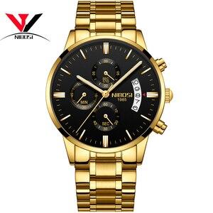 Image 2 - [Ship From Brazil] Relogio Masculino Dourado Men Watch 2018 Luxury Brand Waterproof Analog Quartz Watch For Men Original NIBOSI