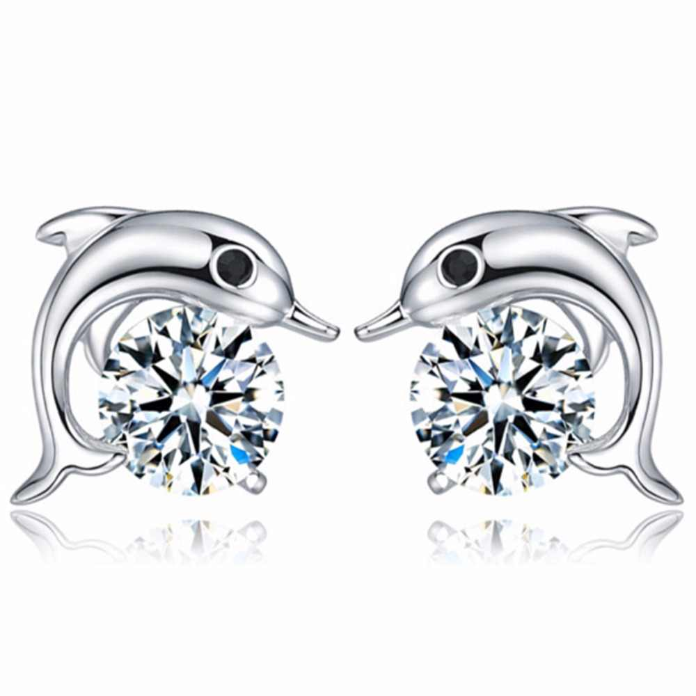 E032 High Quality Silver Color Dolphin Stud Earrings For Women Crystal Rhinestone CZ Stud Earring Fashion Jewelry Wholesale Gift