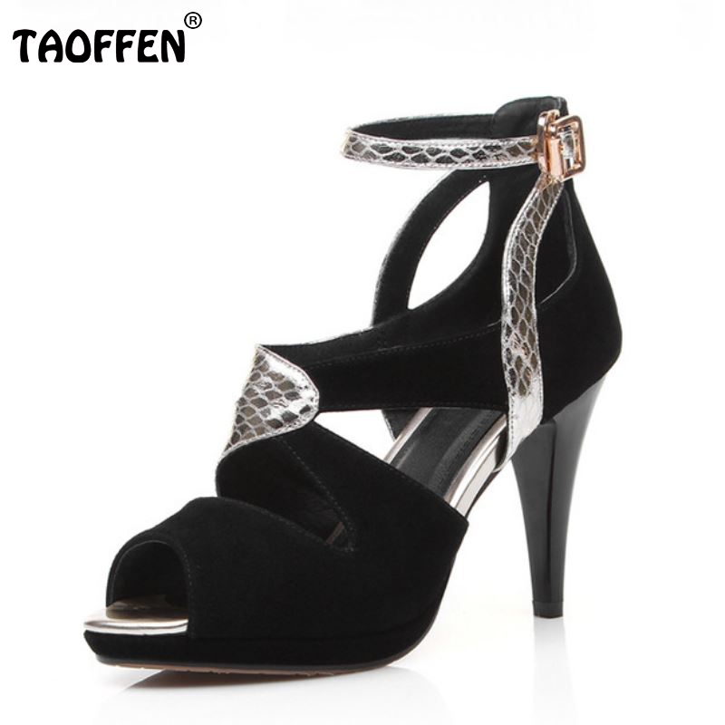 women real genuine leather stiletto fretwork  peep toe high heel sandals sexy fashion brand ladies heeled shoes size 30-45 R6921