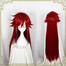 Kuroshitsuji Black Butler Grell Sutcliff Red Long Straight Heat Resistant Hair Cosplay Costume Wig Without Skull Chain Glasses(China)