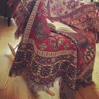 Pure cotton Retro nostalgia carpet thin blanket Tibet Ethnic Art blanket bed cover living room bedroom Tablecloth Felts tapestry