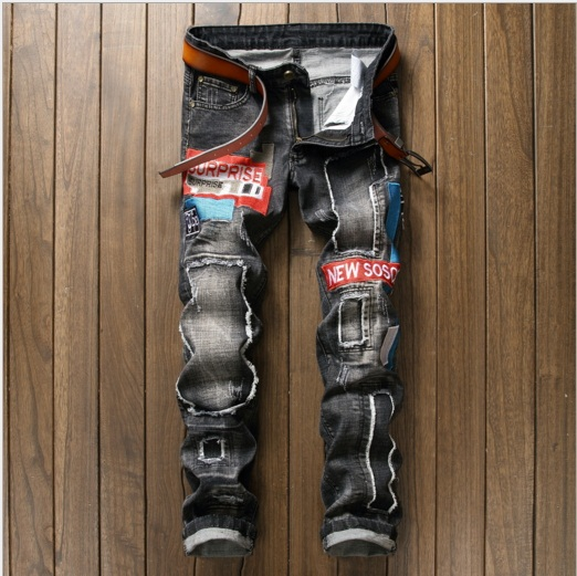 Men's casual holes Distressed ripped Jeans for Men TornDenim Pants Male New Fashion Garment Washed skinny biker punk Jeans J030