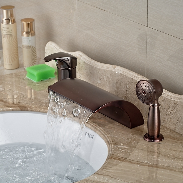 Whole And Retail Promotion Luxury Oil Rubbed Bronze Roman Waterfall Bathroom Tub Faucet Pull Out Hand