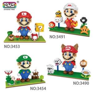 Image 1 - ZMS Game Marirro Luirgi Yoshri Bowse Fire Cat Mariro DIY Mini Building Micro Diamond Blocks Brick Kids Toy Flower Coin box