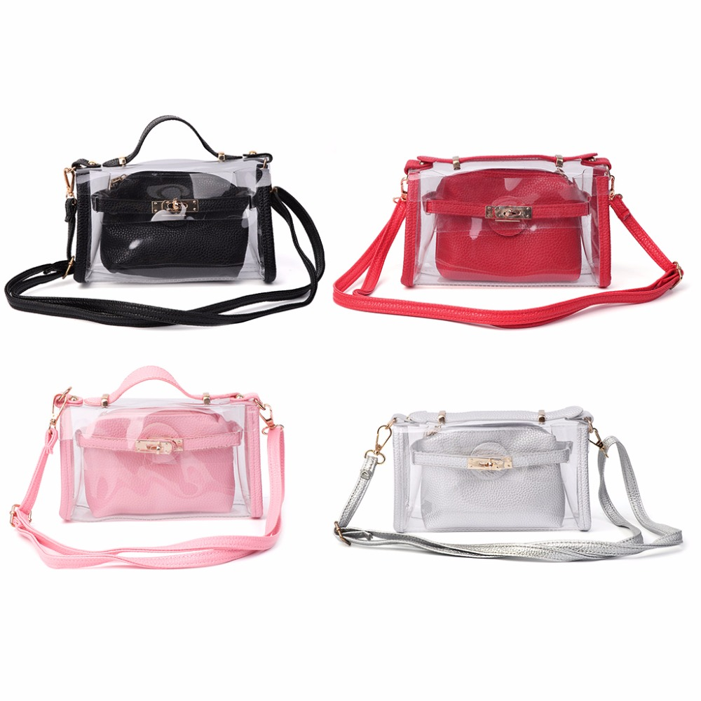 THINKTHENDO 2017 Women Fashion Shoulder Bag Crossbody Bags Handbag Clear Transparent Purse PVC Bag Tote New thinkthendo new woven bags chain strap replacement for purse handbag shoulder bag accessories faux leather metal
