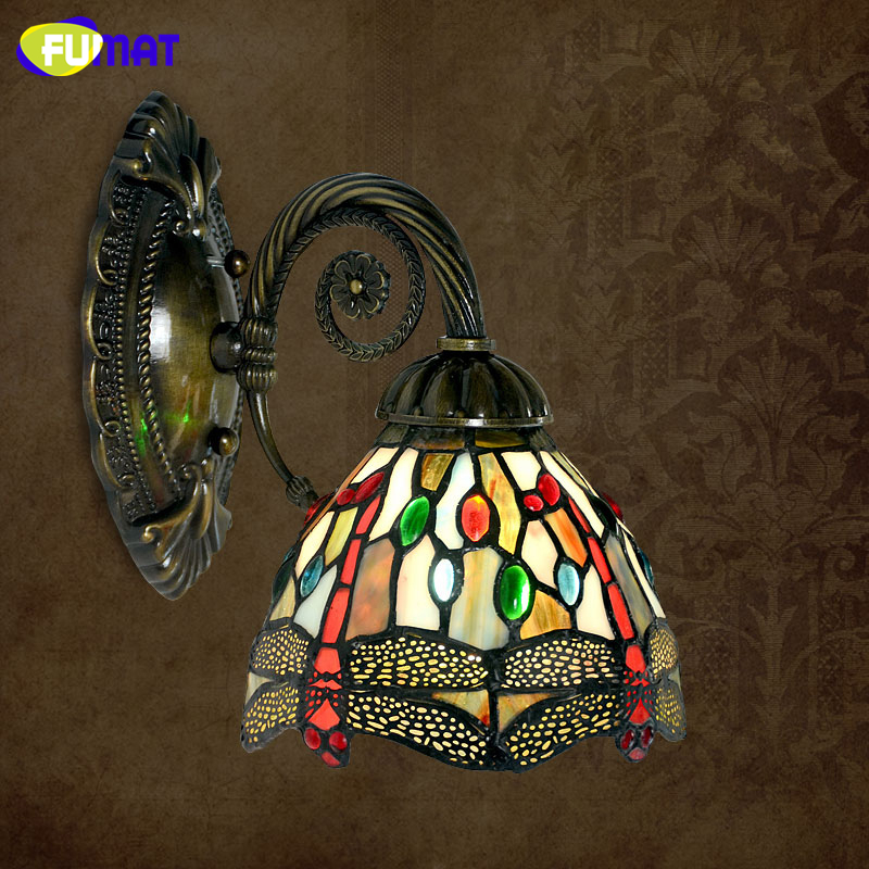 FUMAT Wall Lamp Stained Glass Art Color Glass Shade Light Luminaire Wall Corridor Light Fixture Hotel Bedside LED Wall Sconces fumat stained glass table lamp bedside sakura lamp living room hotel bar art glass shade desk lamp bedside light fixtures