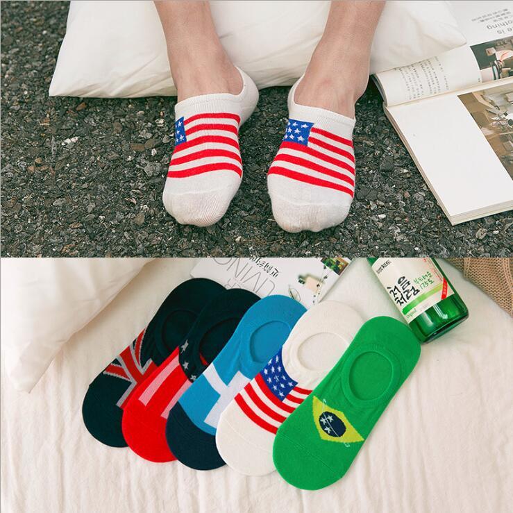 2Pcs=1Pair Men Socks Cotton National Flag Men's And Male Short Sock Colorful Breathable Cartoon Weed Socks UK USA BR RU