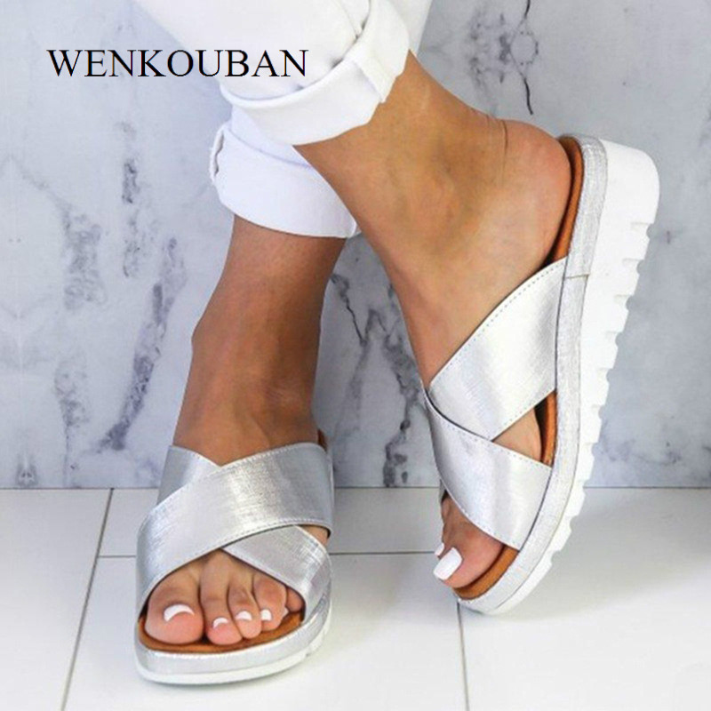 Flat Sandals Women Outdoor Summer Shoes Ladies Wedge Sandals New Female Slippers Fashion Platform Sandals Chaussure Femme 2019Flat Sandals Women Outdoor Summer Shoes Ladies Wedge Sandals New Female Slippers Fashion Platform Sandals Chaussure Femme 2019