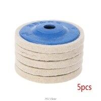 5Pcs 4 ''Runde Polieren Rad Filz Wolle Polieren Polierer Pad Puffer Disc Werkzeuge-in Polierpads aus Werkzeug bei