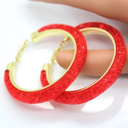Round Snake Earrings Crystal Style