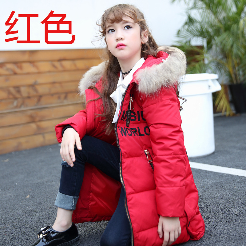 -30 degrees girls winter down jacket 2016 new children s duck Down Kids Outerwears Big wool collar warm baby coats 4-13Y