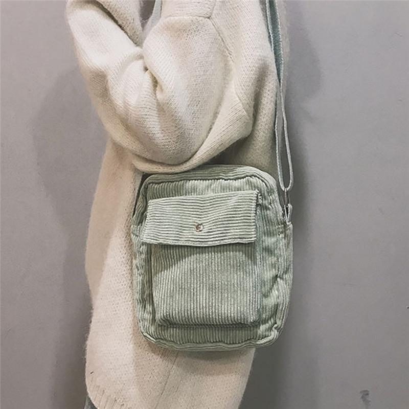 Hot Sale Winter Women Corduroy Flap Bag Female Canvas Zipper Shoulder & Crossbody Bag Preppy Style Money Bags For Girls