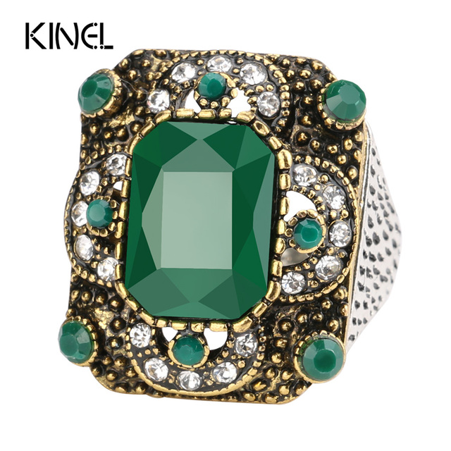Kinel Turkish Rings For Women Antique Gold Green Resin Hollow Out Square Party B