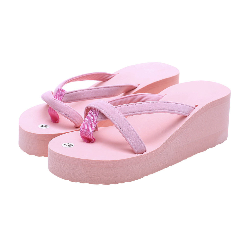 0a34473ac3a926 Women s Shoes Summer Fashion Slippers Flip Flops Beach Wedge Thick Sole  Heeled Shoes flip flops sapato feminino pantufa A6-in Flip Flops from Shoes  on ...