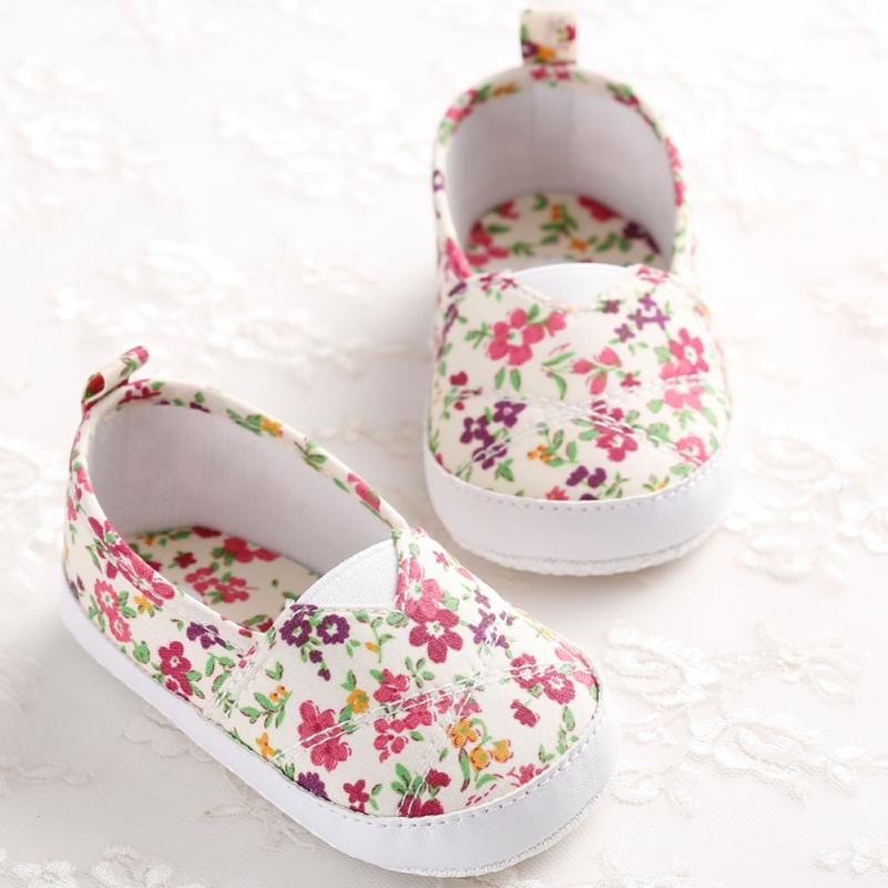 B Toddler Infant Newborn Baby Girl Floral Printed Soft Sole Prewalker Shoes  Specifications  UK F2