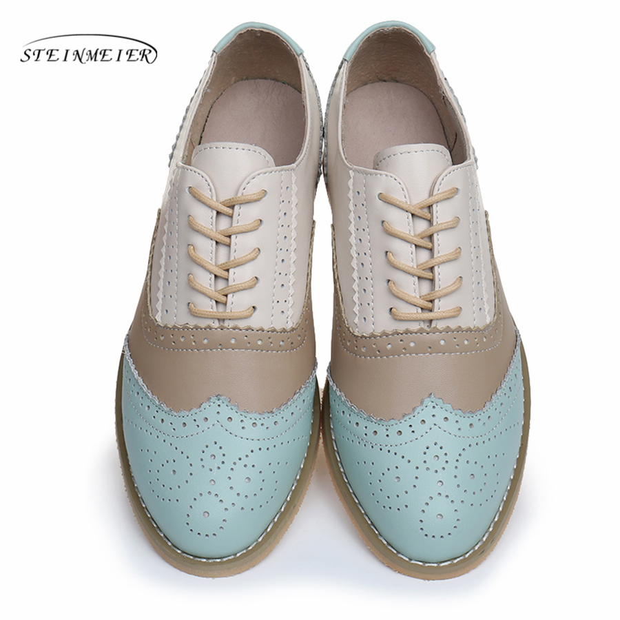 Women Genuine leather flats shoes handmade Black blue white 2019 sping vintage flat British style oxford shoes for women women genuine leather flat sandals shoes handmade beige white oxford slippers vintage square toe british style shoes