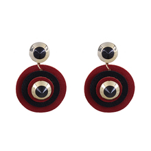 New Design Round Drop Earrings Leather Dangle Earrings for Women Gold Round Red Earrings Vintage Fashion Jewelry Women Oorbellen red gray round colorful embroidery drop earrings