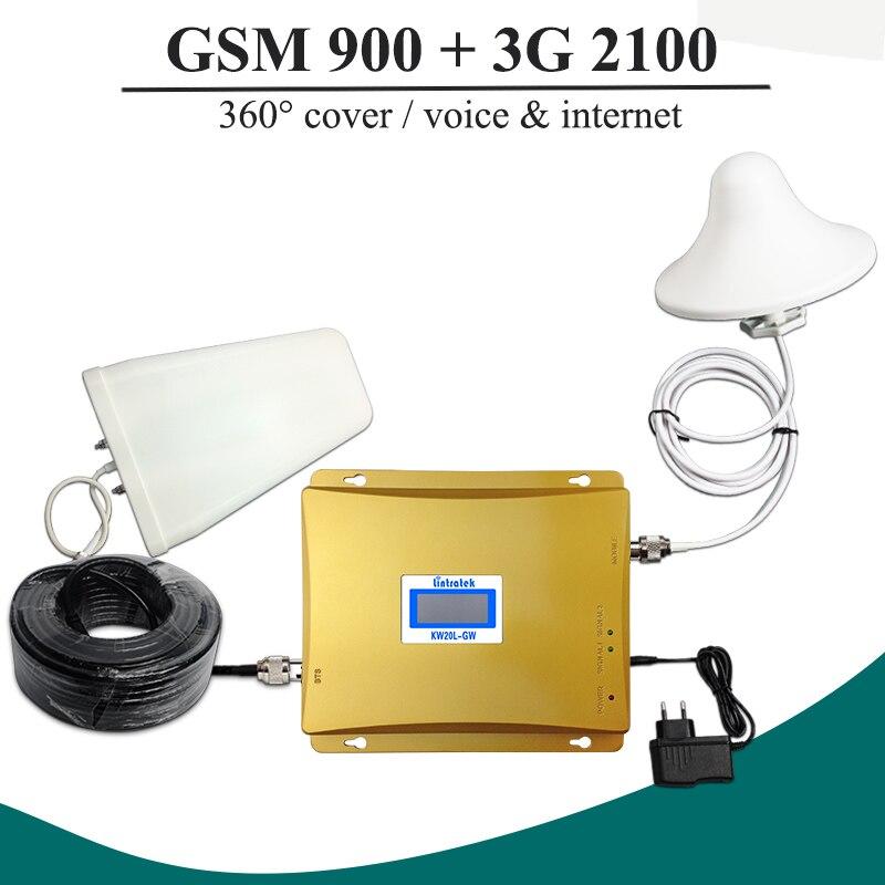 Vente chaude!! LCD GSM 900 3G Signal Double Bande Répéteur GSM 900 mhz 3G UMTS 2100 mhz Cellulaire Amplificateur GSM 3G WCDMA 2100 Cellulaire Booster