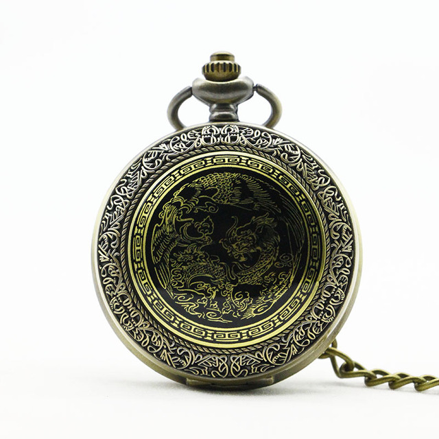 Antique China Dragon Retro Thick Waist Chain Bronze Quartz Pocket watch Men's Wo