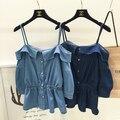 2016 Verão Doce Fino Tops Camisole Camisas de Denim Com Cintura Equipado Projeto Cor Azul Claro e Azul Escuro