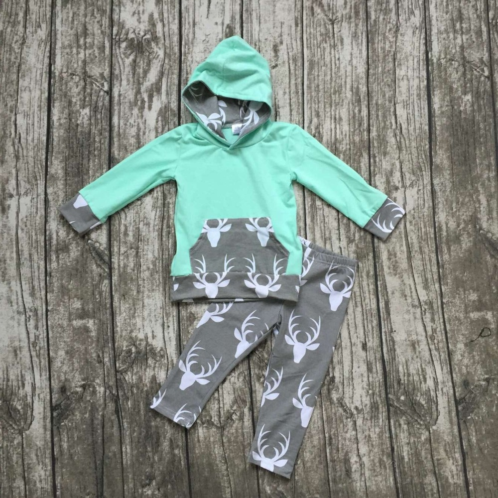 Fall clothes kids long sleeve outfits baby girls hoodie clothing mint gray deer outfits pocket clothing children boutique sets free ship fall winter long sleeve children clothing sets infant girls ruffle outfits knitted cotton newborn baby clothes f110